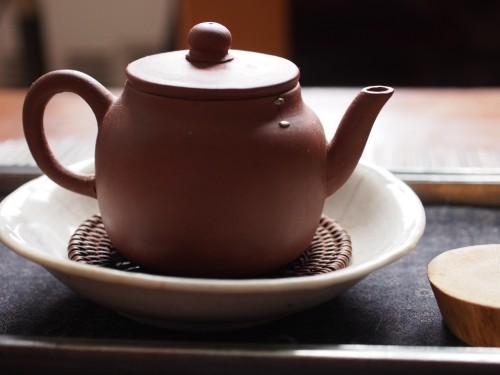 19th Century Yixing Teapot. Metal Staple Repair.