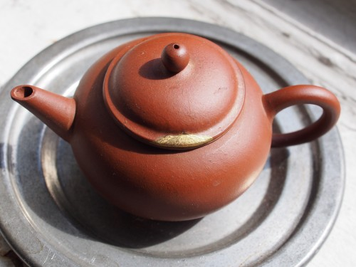 1970s Yixing Teapot | Mountain Maki-e Kintsugi repair