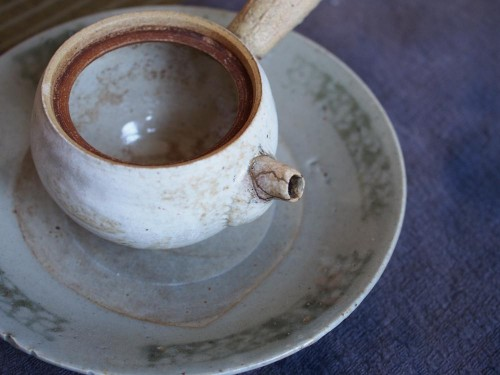 Stoneware Side Handle Pot | Kintsugi repair